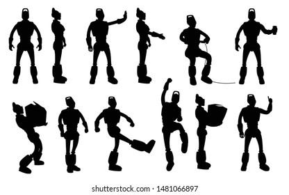 robot silhouettes set in different poses on white background