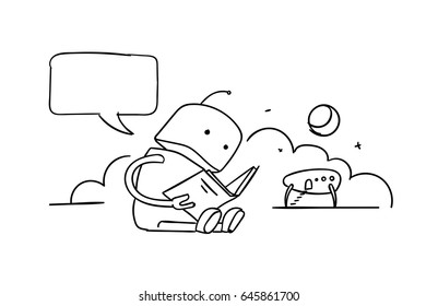 The robot sits reading book. Instructions user guide. Error page 404 not found. Drawings by hand vector line sketch