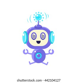 Robot Sitting In Trans Flat Childish Cartoon Style Vector Drawing Isolated On White Background