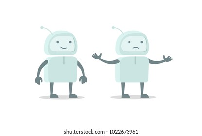 Robot spacesuit alien character luck and failure set. Flat color vector illustration stock clipart