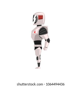 Robot spacesuit, superhero, cyborg costume, side view vector Illustration on a white background