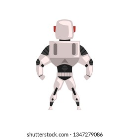 Robot spacesuit, superhero, cyborg costume, back view vector Illustration on a white background