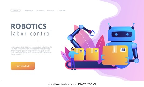 Robot substituting human working with boxes on conveyor. Labor substitution, man versus robot, robotics labor control concept. Website vibrant violet landing web page template.