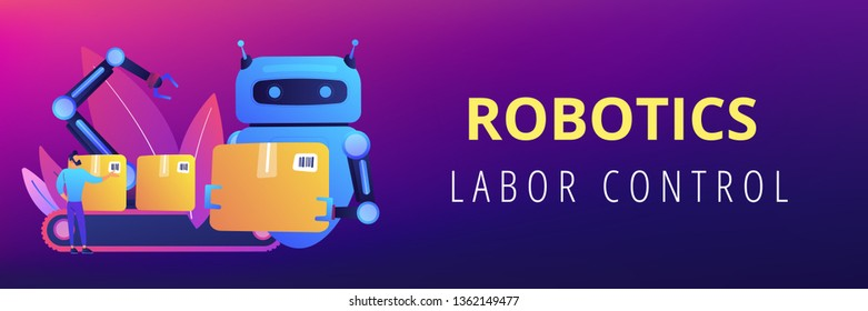Robot substituting human working with boxes on conveyor. Labor substitution, man versus robot, robotics labor control concept. Header or footer banner template with copy space.