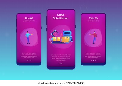 Robot substituting human working with boxes on conveyor. Labor substitution, man versus robot, robotics labor control concept. Mobile UI UX GUI template, app interface wireframe