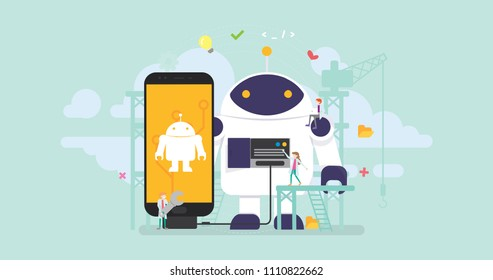 Robot Technology Development Tiny People Character Concept Vector Illustration, Suitable For Wallpaper, Banner, Background, Card, Book Illustration, Web Landing Page, and Other Related Creative