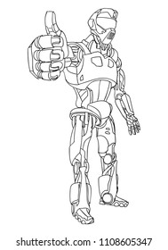 Robot with thumb up. Hand draw doodle vector illustration.