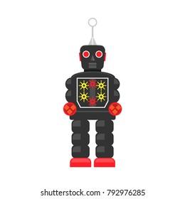 Robot, Tin toy robot vector, Vintage tin toy robot, flatdesign