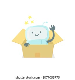 Robot toy in the box. Cute small new emoji sticker Icon. Very cute for child kid surprise box. You are beautiful emotions. Flat color vector illustration