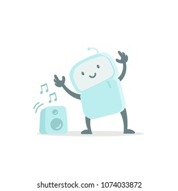 Robot toy listens to music and dances. Cute small new emoji sticker Icon. Very cute for child kid audio. You are beautiful. Flat color vector illustration