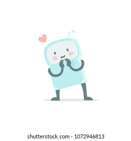 Robot toy love you and shy. Cute small new emoji sticker Icon. Very cute for child kid picture with heart. You are beautiful. Flat color vector illustration