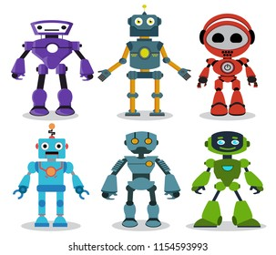 Robot toys vector cartoon characters set with modern and friendly looks for games and design elements isolated in white background. Vector illustration.