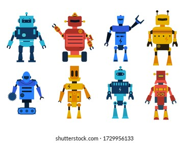 Robot toys vector characters set. Collection of cartoon robots, transformer and androids isolated on white background. Technology, the future. Vector illustration, eps 10.