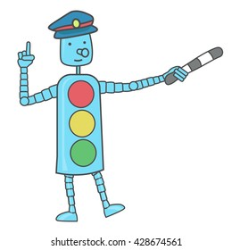 Robot traffic light shows the right way. Safety on the road.