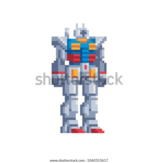Robot Transformer Cartoon Character Pixel Art Stock Vector