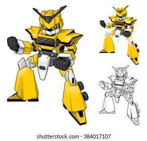 Robot Truck Cartoon Character Include Flat Design and Line Art Version Vector Illustration