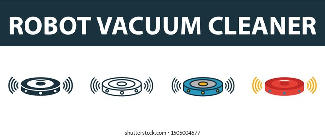 Robot Vacuum Cleaner icon set. Four elements in diferent styles from smart home icons collection. Creative robot vacuum cleaner icons filled, outline, colored and flat symbols.