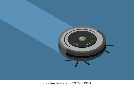 Robot Vacuum Cleaner Run on Blue background in Isometric View - Vector Illustration