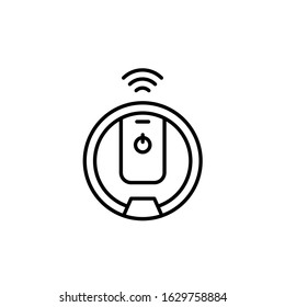 Robot vacuum cleaner simple line icon vector illustration
