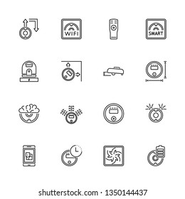 Robot Vacuum Cleaners outline icons set - Black symbol on white background. Robot Vacuum Cleaners Simple Illustration Symbol - lined simplicity Sign. Flat Vector thin line Icon - editable stroke