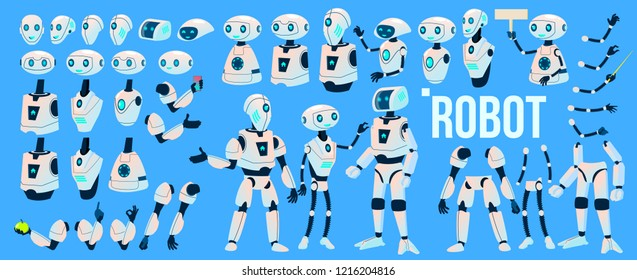 Robot Vector. Animation Set. Futuristic Technology Automation Robot Helper. Cybernetic Ai Machine. Animated Artificial Intelligence. Web Design. Isolated Illustration