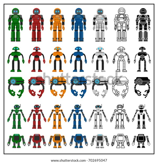 Robot Vector Character Set Stock Vector (Royalty Free) 702695047