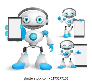 Robot vector characters set holding mobile phone  gadget with empty blank white screen for text and technology informations. Android mascot vector illustration.