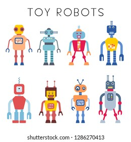 Robot vector collection - vintage style toy robots illustration set.