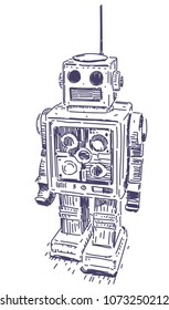 Robot vector hand drawn