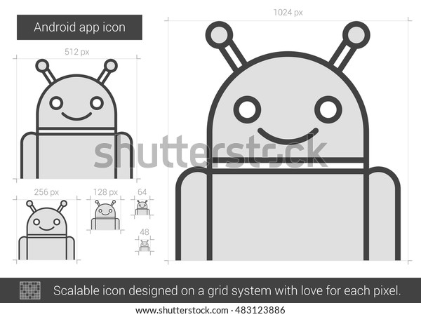 Robot Vector Line Icon Isolated On Stock Vector (Royalty