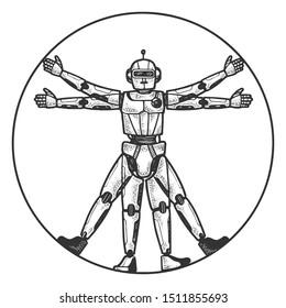 Robot Vitruvian Man sketch engraving vector illustration. Tee shirt apparel print design. Scratch board style imitation. Black and white hand drawn image.