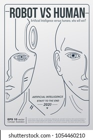 robot vs human industry. AI artificial intelligence and human intelligence Concept business disruption illustration. Vector minimal flat design to poster and cover.