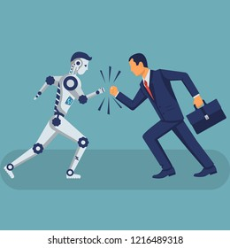 Robot vs human. Versus concept. Vector illustration flat design. Isolated on background. Businessman with the robot collided in battle. Conflict ai with humanoid.