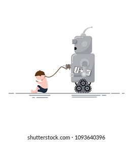 Robot walk out his Pet - male human. Futuristic cartoon robot character with man