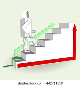 Robot walking on stairs 3d isolated. Vector illustration on a white background.