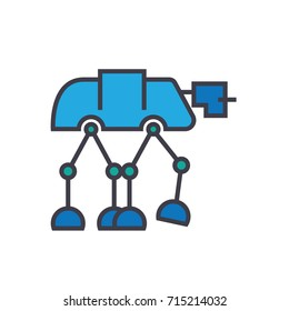 Robot warior, armored transport  flat line illustration, concept vector isolated icon