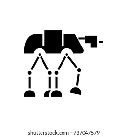 robot warior armored transport  icon, vector illustration, black sign on isolated background