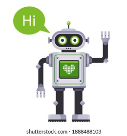 the robot waves his hand and says hi. flat character vector illustration isolated on white background.