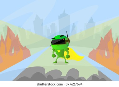 Robot Wear Digital Glasses Head Wearable Technology Virtual Reality Cyber Video Game Flat Vector Illustration