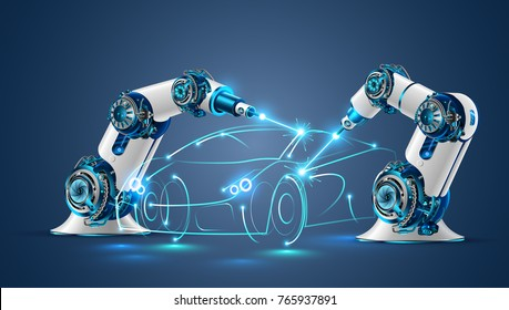 Robot welder in automobile industry. White robots welding car body on automobile factory. The robots draw the outline of the concept car with a laser ray or beam.