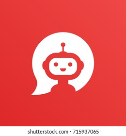 Robot in white speech bubble on red background. Cute robot icon in speech bubble. Support service bot. Vector illustration