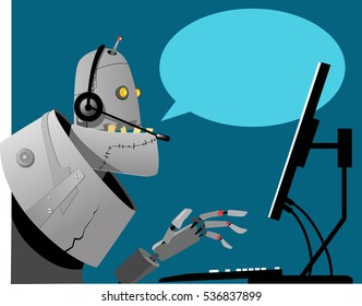 Robot working in a call center, empty speech bubble on the background, EPS 8 vector illustration, no transparencies