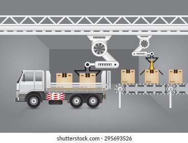 Robot working with conveyor belt and truck with dark background.