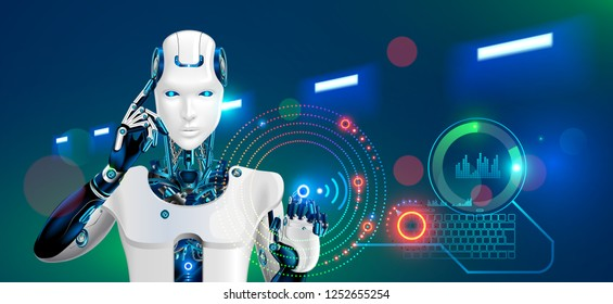 Robot works at factory. Humanoid cyborg or android with ai taps the button on the virtual HUD graphic interface. Concept of the automation production technology in Future. 4 industry revolution.