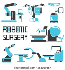 robot-assisted surgery set, robotic surgery icons