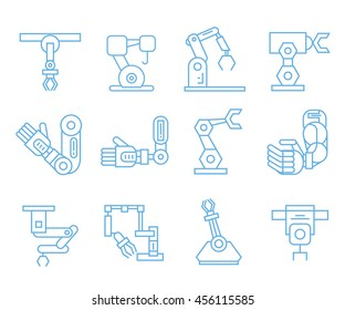 robotic arm icons, outline icons