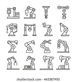robotic arm icons set, industrial robot, machine arm robot for manufacture vector illustration outline icons
