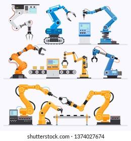 Robotic arm Industrial. Vector illustrations.