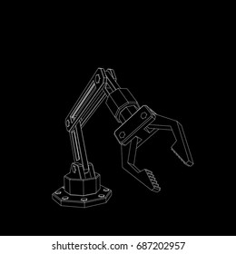 Robotic arm. Isolated on black background. Vector outline illustration.