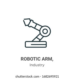 Robotic arm, outline vector icon. Thin line black robotic arm, icon, flat vector simple element illustration from editable industry concept isolated stroke on white background